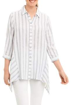 Foxcroft Johnny Collar Striped Blouse