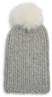 Eugenia Kim Textured Wool and Fox Fur Beanie