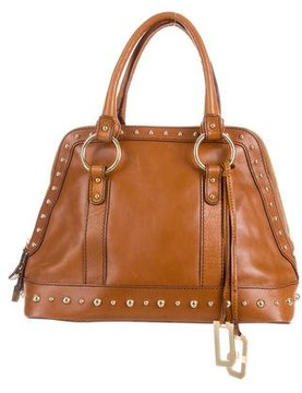 Dolce & Gabbana Leather Studded Bag - BROWN - STYLE