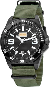 Just Cavalli 40mm Men's Stainless Steel Chronograph Watch w/ Nylon Strap, Green