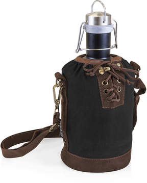 Picnic Time Black & Brown Insulated Growler Tote & Matte Black Steel Growler