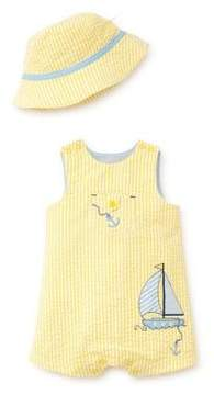 Little Me Baby Boy's Two-Piece Cotton Striped Sunsuit and Hat Set