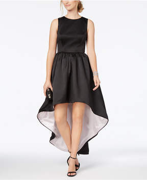 Betsy & Adam Contrast High-Low Gown