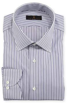 Ike Behar Gold Label Striped Cotton Dress Shirt, Purple/Gray