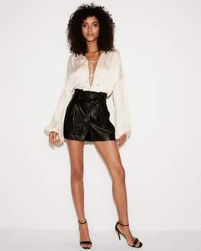 Express High Waisted (Minus The) Leather Sash Waist Shorts