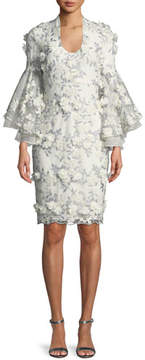 Badgley Mischka 3D Floral Appliqué Bell-Sleeve Cocktail Dress