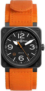 Bell & Ross BR0392OCA aviation automatic steel and canvas strap watch