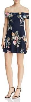 Aqua Floral Print Off-the-Shoulder Dress - 100% Exclusive