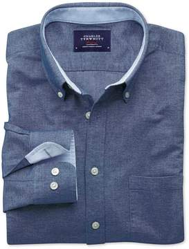 Charles Tyrwhitt Extra Slim Fit Blue Washed Oxford Cotton Casual Shirt Single Cuff Size Small