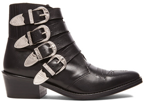 Toga Pulla Leather Buckled Booties in Black.
