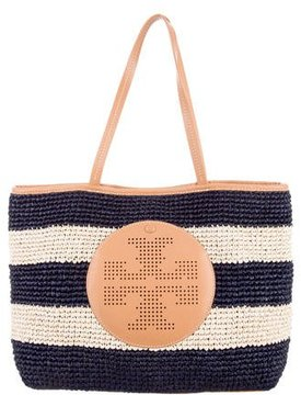 Tory Burch Striped Straw Tote - BLUE - STYLE