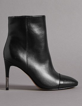 Marks and Spencer Leather Stiletto Heel Toe Cap Ankle Boots
