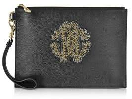 Roberto Cavalli Women's Black Leather Clutch.