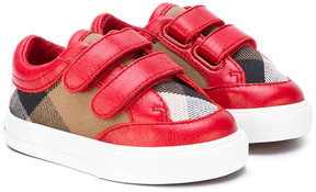 Burberry Kids classic check touch strap sneakers