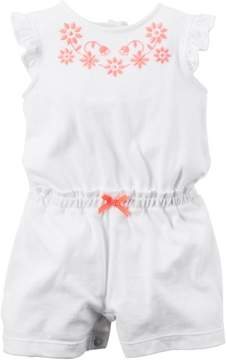 Carter's Baby Girl 1pc Romper Ivory W Pink Embroidery White