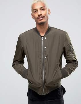 Esprit Quilted Nylon Bomber Jacket in Khaki