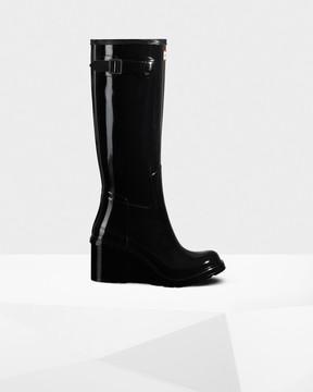 Hunter Women's Original Refined Tall Gloss Wedge Boots