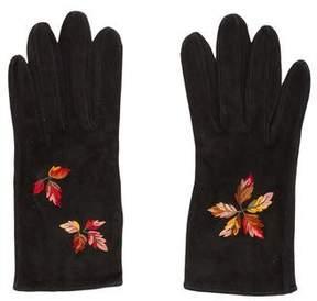 Hermes Flora Suede Gloves