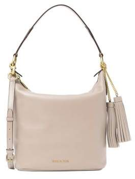 MICHAEL Michael Kors Tasseled Leather Shoulder Bag - DUSTY BLUE - STYLE