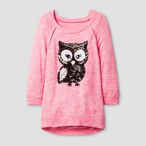 Miss Chievous Girls' Tunic w. Cute Sequin Owl - Pink