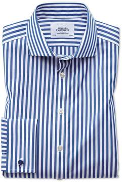 Charles Tyrwhitt Extra Slim Fit Spread Collar Non-Iron Bengal Stripe Blue Cotton Dress Shirt French Cuff Size 14.5/33