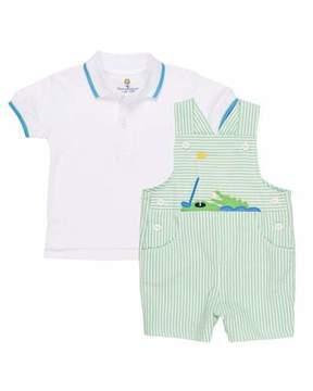Florence Eiseman Seersucker Golf & Gator Overalls w/ Polo Shirt, Size 3-24 Months