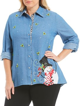 Berek Plus Button Front Snowman Shirt