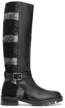 Castaner Buckled Leather And Striped Brushed-Felt Boots