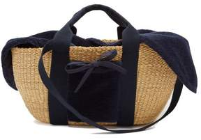 Muun George Shearling And Woven Straw Bag - Womens - Navy