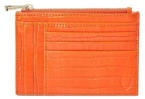 Aspinal of London Double Sided Zipped Card Coin Holder In Deep Shine Amber Small Croc
