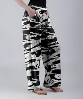 Lily Black & White Sketch Stripe Wide-Leg Pants - Women & Plus