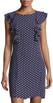 Donna Morgan Ruffle-Sleeve Polka-Dot Shift Dress, Blue Pattern