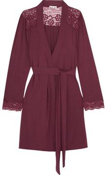Eberjey Lila Lace-trimmed Stretch-modal Robe - Claret