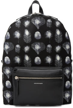 Alexander McQueen Black and Off-White Peacock Feather Backpack