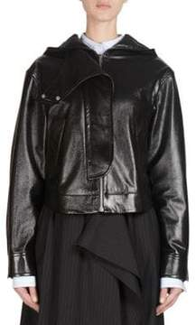 Cédric Charlier Hooded Faux Leather Jacket