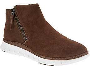 Vionic Suede Zip-Up Slip-On Shoes -Dylan