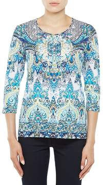 Allison Daley Petites 3/4 Sleeve Crew-Neck Printed Knit Top