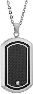 Lynx Cubic Zirconia Stainless Steel Two Tone Carbon Fiber Dog Tag Necklace - Men