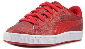 Puma Basket Holiday Glitz Ps Youth Round Toe Canvas Red Sneakers.