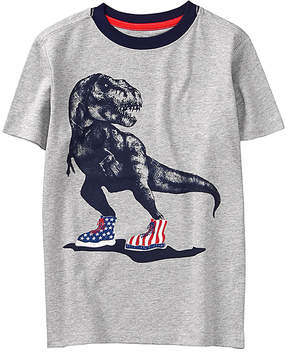 Gymboree Heather Grey & Classic Grey Heather Sneaker T-Rex Tee - Boys