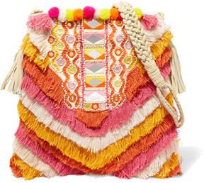 Antik Batik Frika Leather-trimmed Fringed Cotton Shoulder Bag - Pink