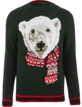 River Island Mens Dark green polar bear knit Christmas sweater