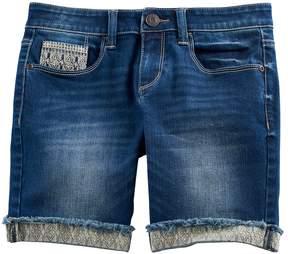 Mudd Girls 7-16 & Plus Size Embroidered Cuff Bermuda Jean Shorts