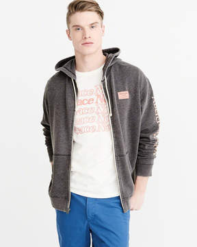 Abercrombie & Fitch Oversized Burnout Full-Zip Hoodie