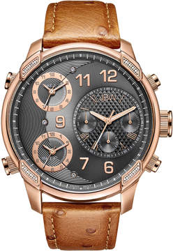 JBW Diamond Mens Brown Strap Watch-J6353b