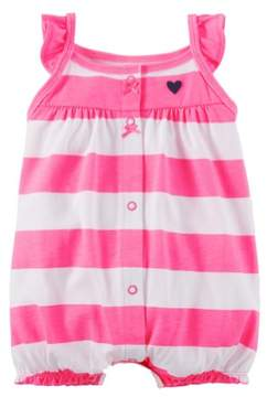 Carter's Infant Girls White & Hot Pink Striped Short Sleeved Romper Creeper