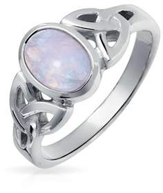 Celtic Bling Jewelry Moonstone Triquetra Knot Sterling Silver Ring.