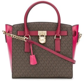 Michael Kors Hamilton Color-Block Logo and Leather Satchel - Brown/Mulbry - 30F7GHMS9V-279 - ONE COLOR - STYLE