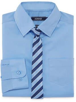 Izod Stretch Boys Shirt + Tie Set 8-20 - Reg