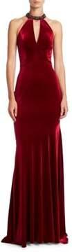 Theia Halterneck Velvet Gown